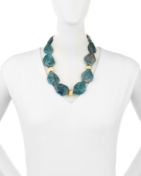 22K Gold Apatite Station Necklace, Teal Blue