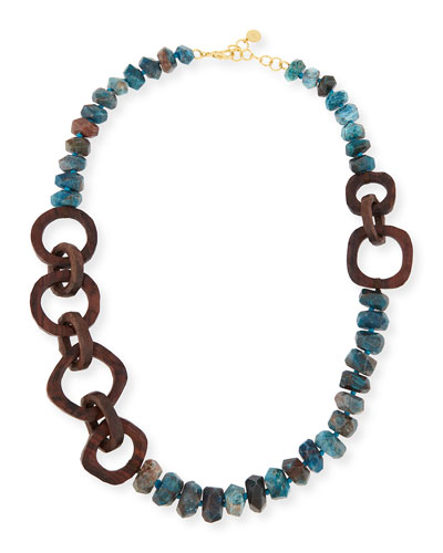 Apatite Stone & Wooden Bead Necklace, 40