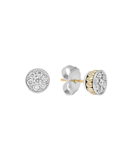 Sterling Silver & 18K Diamond Stud Earrings