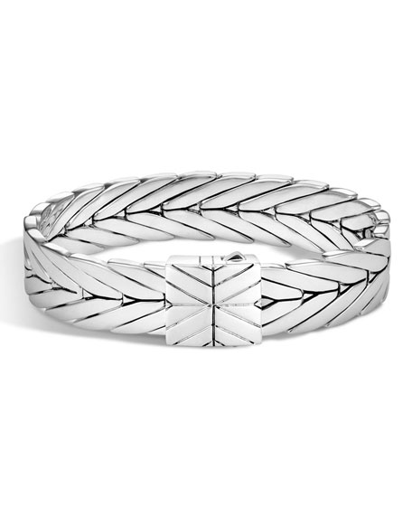 Modern Chain Large Sterling Silver Rectangle Bracelet