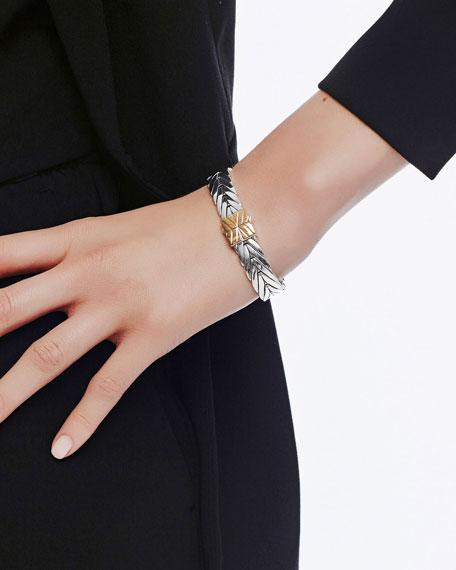 John Hardy Modern Chain Gold/Silver 11mm Rectangular Bracelet with Pusher Clasp
