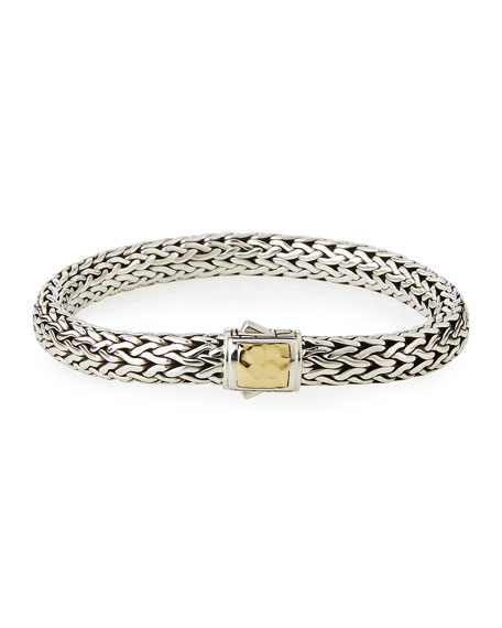 Classic Chain Medium 18K Yellow Gold & Sterling Silver Bracelet, Silver/ Gold
