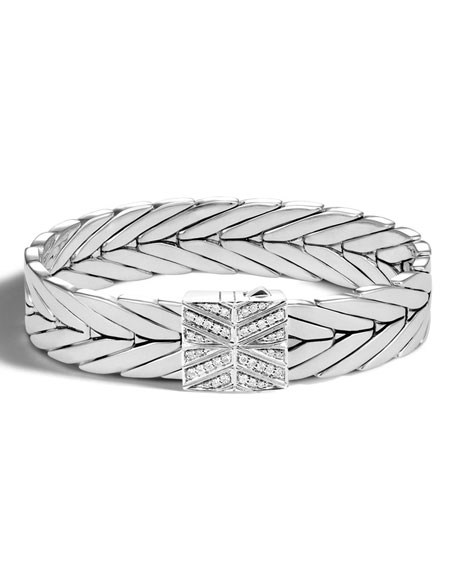 Modern Chain Silver 13mm Rectangular Bracelet with Diamond Clasp, Size M