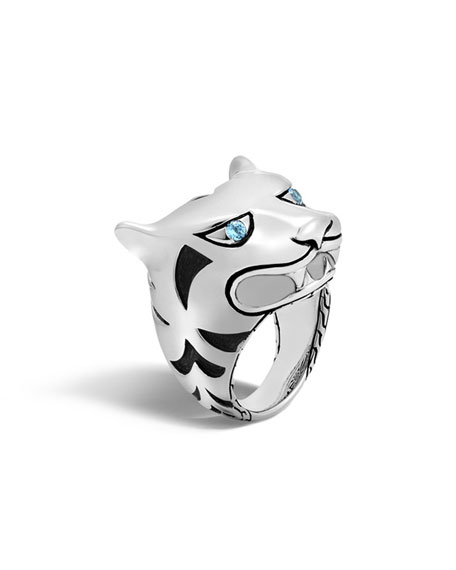 Legends Macan Silver Head Ring with Swiss Blue Topaz, Size 7