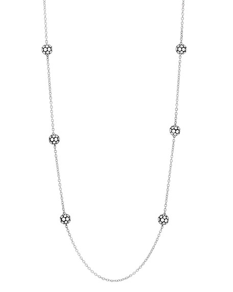 Dot Sterling Silver Ball Station Necklace, 36""