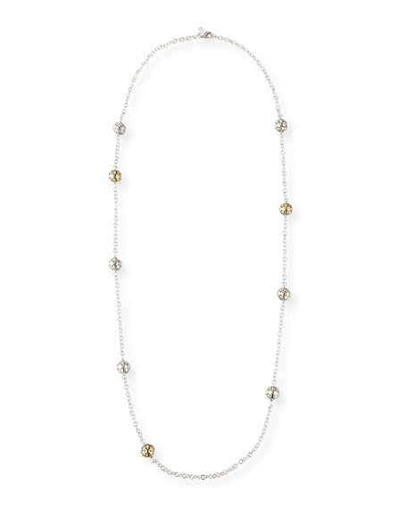 """Dot Gold & Silver Large Ball Station Necklace, 36"""""""