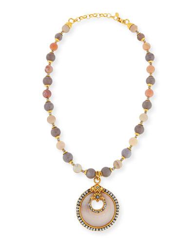 Gray & Peach Agate Medallion Necklace