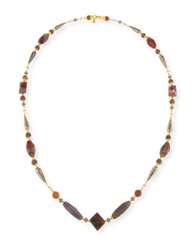 Long Gray & Peach Agate Necklace, 46