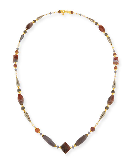 Long Gray & Peach Agate Necklace, 46""