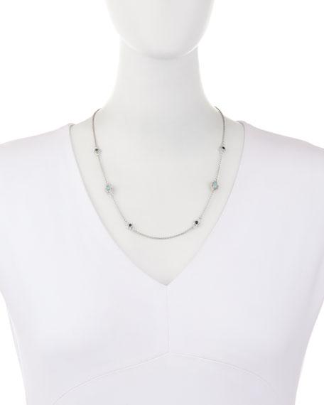 New World Turquoise & Quartz Doublet Station Necklace with Diamonds