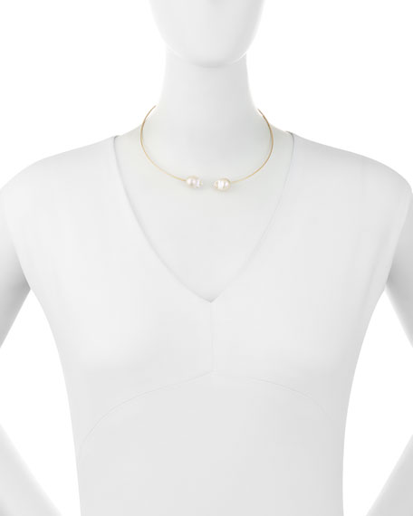 14K Two-Pearl Collar Necklace