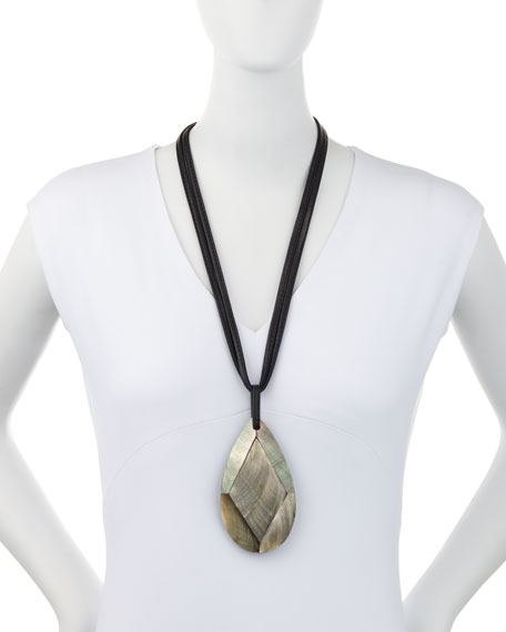 Image 2 of 2: Viktoria Hayman Faceted Mother-of-Pearl Pendant Necklace, Black