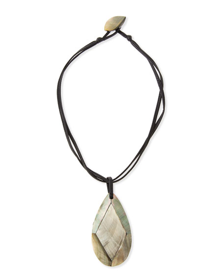 Image 1 of 2: Viktoria Hayman Faceted Mother-of-Pearl Pendant Necklace, Black