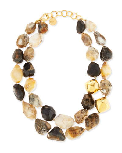 22K Gold & Natural Agate Necklace, Neutral