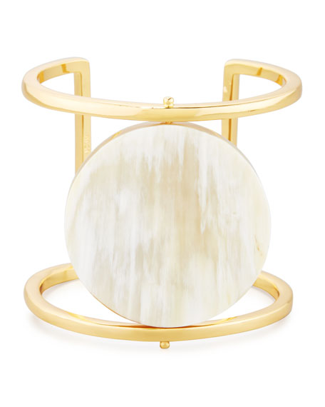 NEST Jewelry Blonde Horn Rotating Disc Cuff Bracelet,