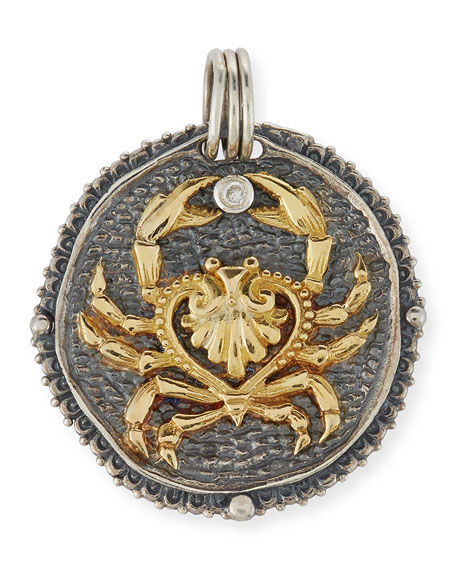 Cancer Carved Zodiac Pendant with Diamond