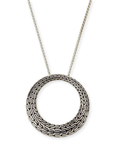 Classic Chain Silver Large Round Pendant Necklace, 36