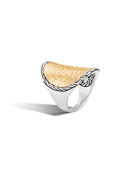 18K Yellow Gold And Sterling Silver Classic Chain Saddle Ring in Silver/ Gold