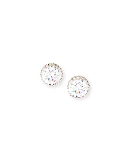 Image 1 of 2: Fantasia by DeSerio Pave CZ Crystal Stud Earrings