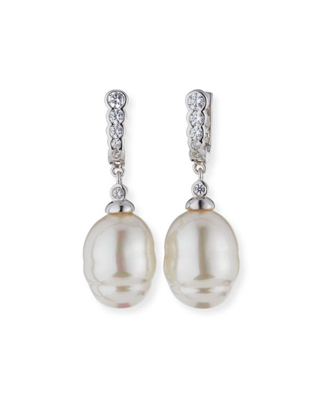14mm Baroque Simulated Pearl & Cubic Zirconia Earrings