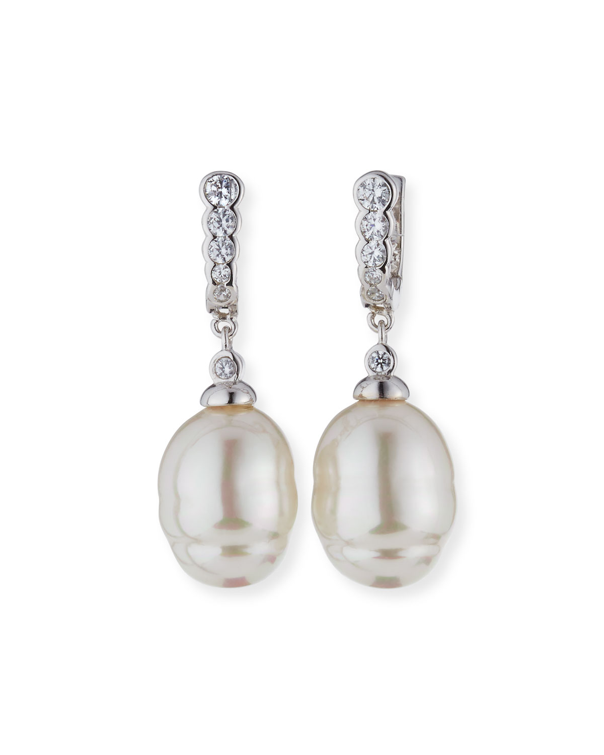 14mm Baroque Simulated Pearl Cubic Zirconia Earrings