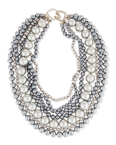 Seven-Row Simulated Pearl Necklace, Gray