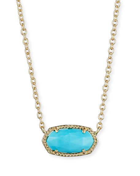 Elisa Magnesite Necklace, Turquoise-Color