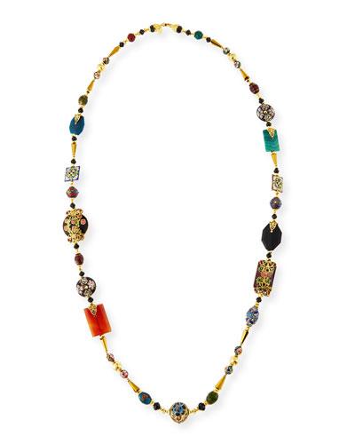 Long Agate, Jade & Carnelian Necklace
