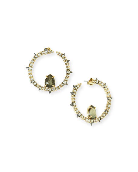 Alexis Bittar Crystal & Pyrite Hoop Earrings