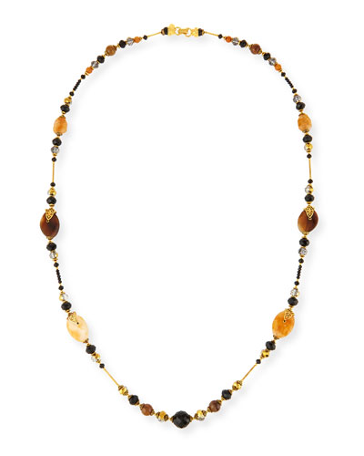 Long Beaded Single-Strand Necklace