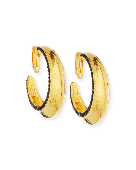 24K Gold-Plated Hoops with Jet Black Crystals