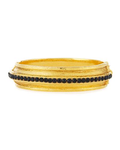24K Gold-Plated Bracelet with Jet Black Crystals