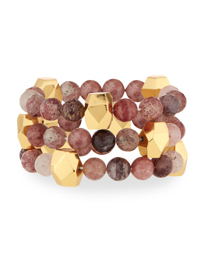 Mulberry Quartz Stretch Bracelets, Set of 3