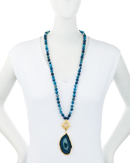 Long Teal Agate Pendant Necklace, 32""