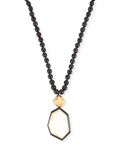 Long Beaded Horn Pendant Necklace, Dark Horn, 32