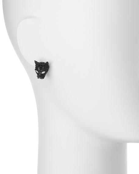 Crystal Panther Post Earrings, Black