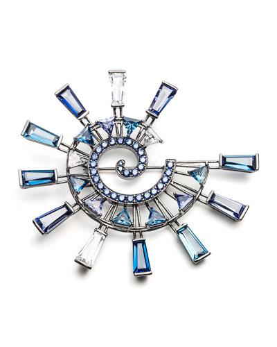 Europa Crystal Statement Brooch, Blue/Multi