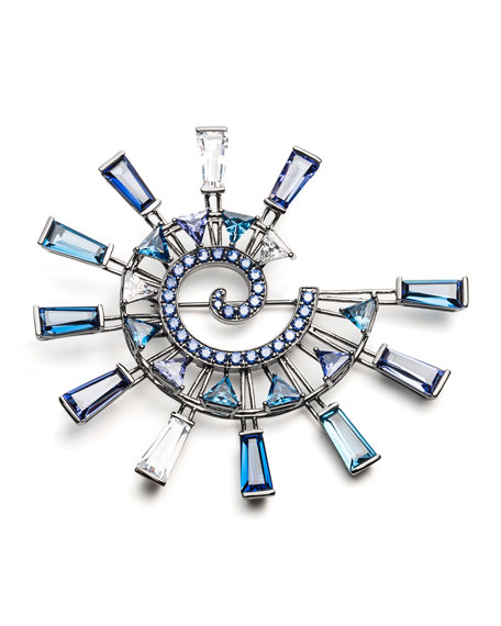 Europa Crystal Statement Brooch, Blue/Multi