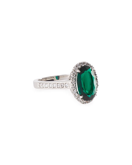Fantasia by DeSerio Emerald Cubic Zirconia Oval Ring