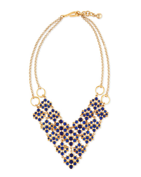 Lulu Frost Energy Crystal Cabochon Bib Necklace, Blue