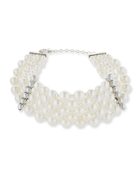 Jose & Maria Barrera Pearly Collar Statement Necklace