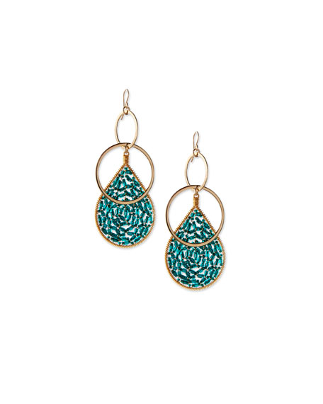 Devon Leigh Crystal Teardrop Hoop Earrings, Teal