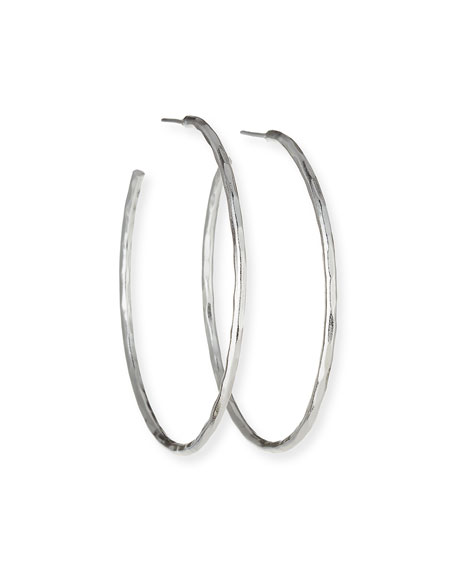 Hammered Sterling Silver Hoop Earrings