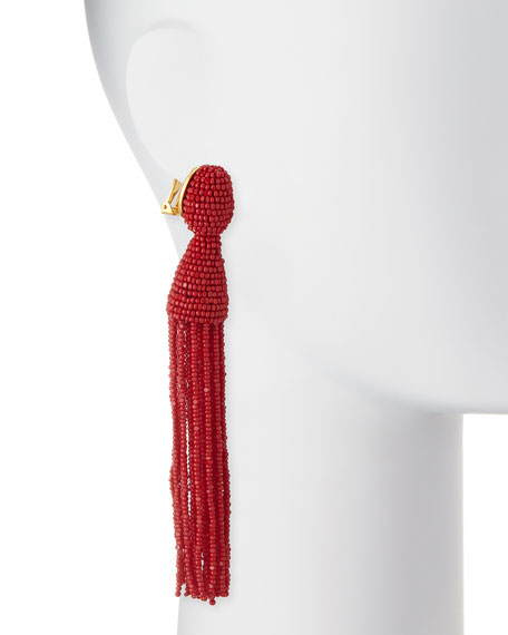 Long Beaded Tassel Clip Earrings, Currant