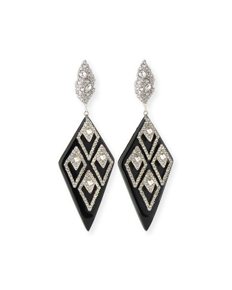 Alexis Bittar Spiked Lattice Crystal Drop Earrings, Black