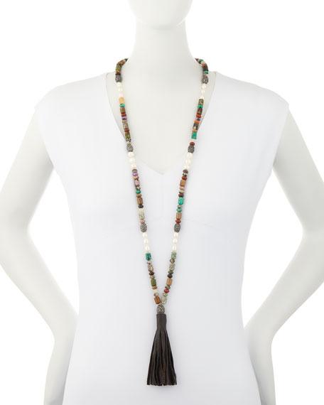 Frankie Jasper Beaded Necklace with Leather Tassel, Multi