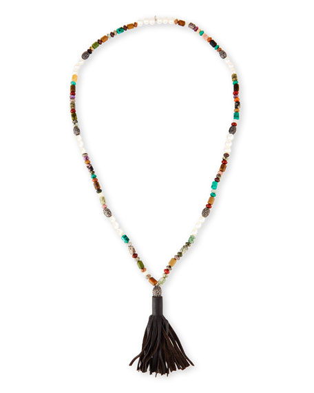 Hipchik Frankie Jasper Beaded Necklace with Leather Tassel,