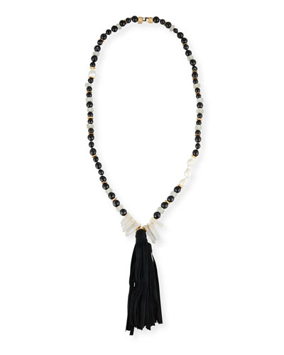 Long Black Agate Tassel Necklace
