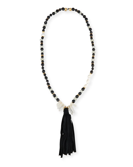 Akola Long Black Agate Tassel Necklace