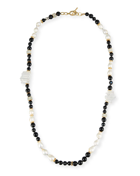 Akola Long Black Single Strand Necklace, 40
